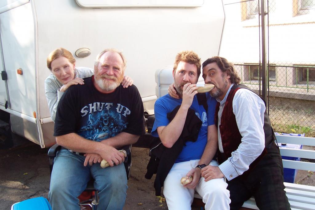 On the set of THE SEEKER: THE DARK IS RISING with Frances Conroy, James Cosmo, and Ian McShane