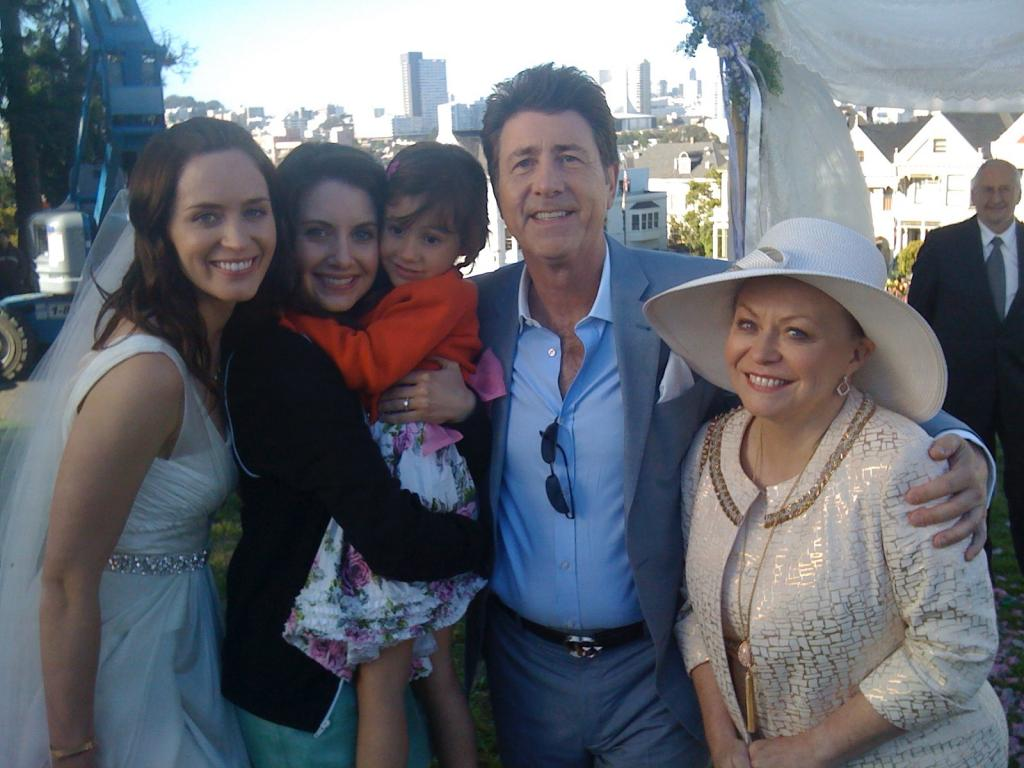 On the set of THE FIVE YEAR ENGAGEMENT with Emily Blunt, Alison Brie and Jacki Weaver
