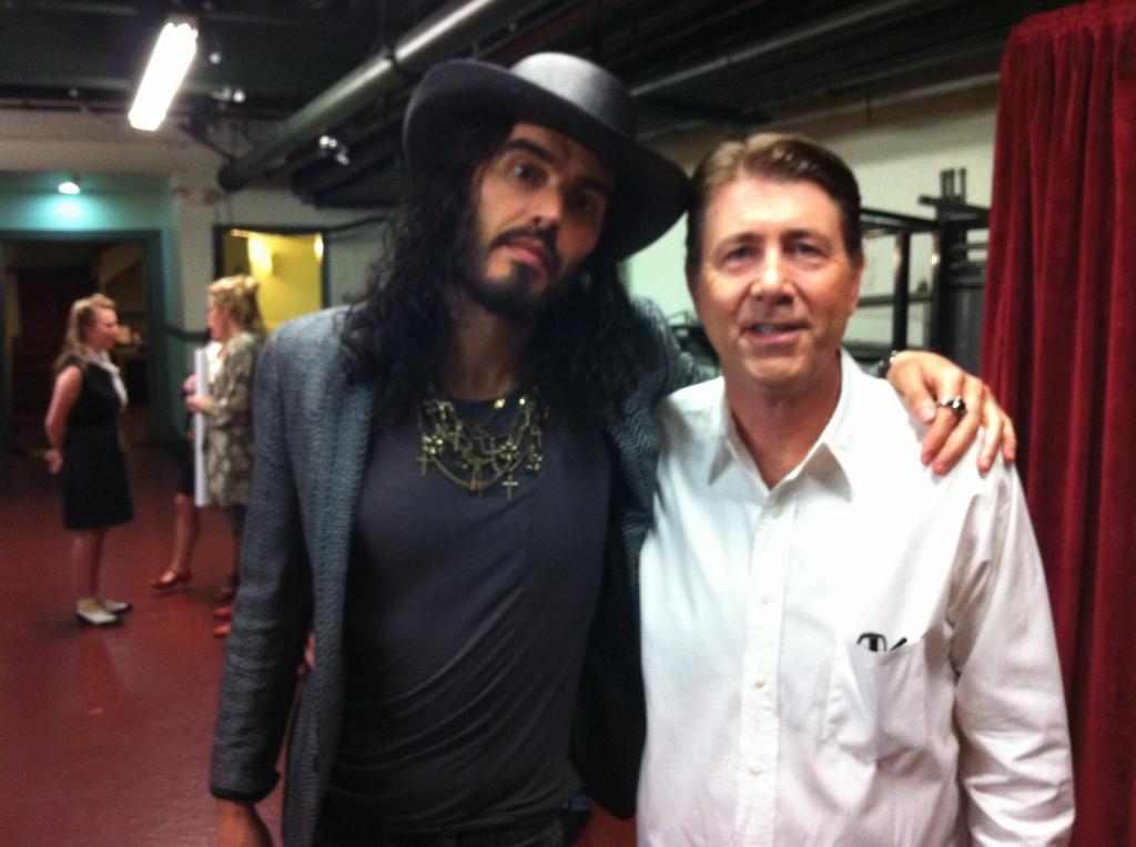 With Russell Brand backstage before WHAT ABOUT DICK?